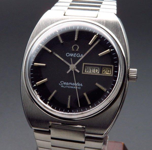 オメガ - Antique Omega -   売切れ 1981年 アンティーク オメガ シーマスター CAL.1020 デイデイト オメガブレス ブラック ヴィンテージ【OH済】
