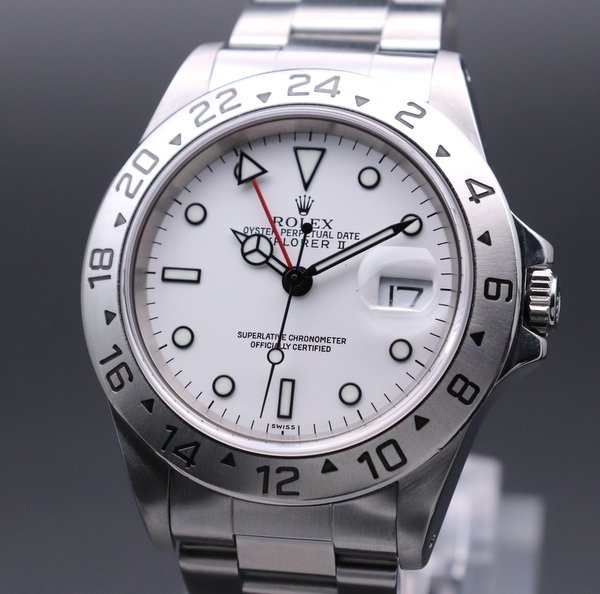 ロレックス - Antique Rolex -   完売  1998年〜99年 ロレックス 16570 エクスプローラー2 ホワイト A番 SS 中古 美品【OH済】