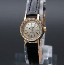 1970年 アンティーク オメガ デビル cal485 カクテル カットガラス レディース 20ミクロンGP ゴールドキャップ 手巻【OH済】