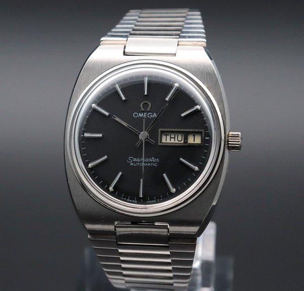 価格別  1974年 アンティーク オメガ シーマスター CAL.1020 デイデイト オメガブレス ブラック ヴィンテージ【OH済】