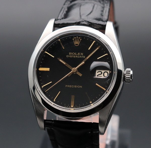 ロレックス - Antique Rolex -   完売 1965年 ロレックス アンティーク ref6694 オイスターデイト 手巻 ブラック 希少金色インデックス【OH済】