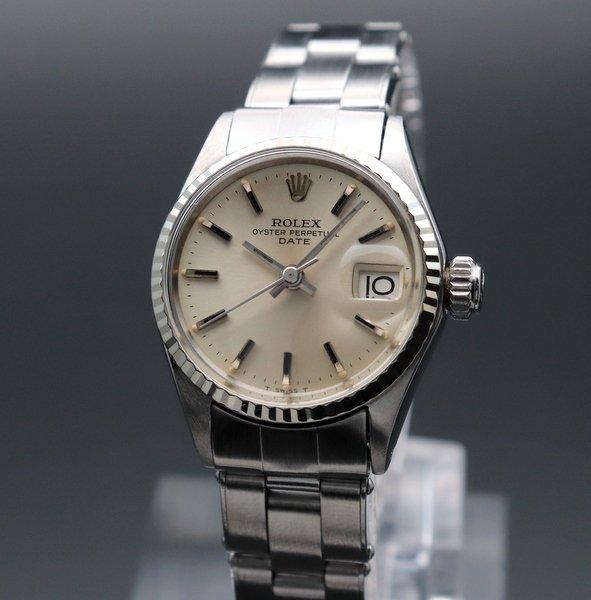 ロレックス - Antique Rolex -    売り切れ 1966年 アンティーク ロレックス オイスター パーペチュアル デイト 6517 WGベゼル リベット 出べそ レディース【OH済】