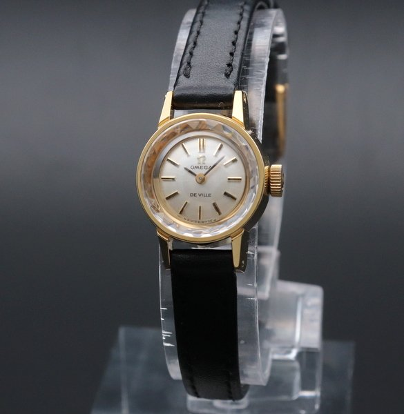 価格別  1970年 アンティーク オメガ デビル cal485 カクテル カットガラス レディース 20ミクロンGP ゴールドキャップ 手巻【OH済】