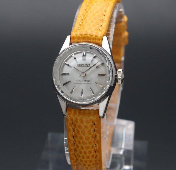 売り切れ 1966年 14KWG GF アンティーク 初期型 クィーン セイコー CAL1020 カクテル 手巻 王冠マーク 希少【OH済】