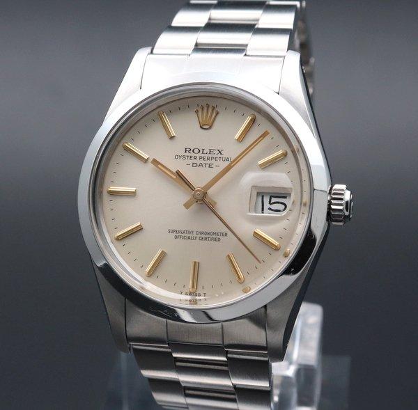 ロレックス - Antique Rolex -   売り切れ 1981年 ロレックス SS オイスターパーペチュアル デイト ref15000 金色インデックス 自動【OH済】【ヴィンテージ】男女兼用