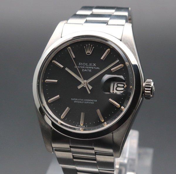 ロレックス - Antique Rolex -   完売 1973年 ロレックス SS オイスターパーペチュアルデイト ref1500 アンティーク ブラック 自動巻 ヴィンテージ【OH済】