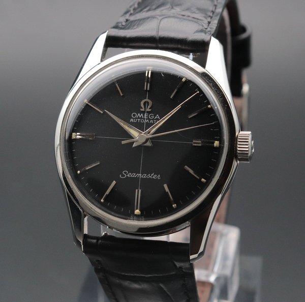 シーマスター  売り切れ 1958年 オメガ アンティーク CAL500  ブラック クロスライン ノンデイト 自動 ヴィンテージ 【OH済】