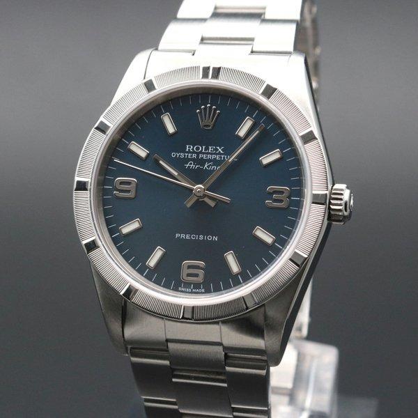 ロレックス - Antique Rolex -   完売 2005年 ロレックス オイスター エアキング ブルー 3・6・9 ref14010M D番 エンジンターンド【中古美品】生産中止モデル【OH済】