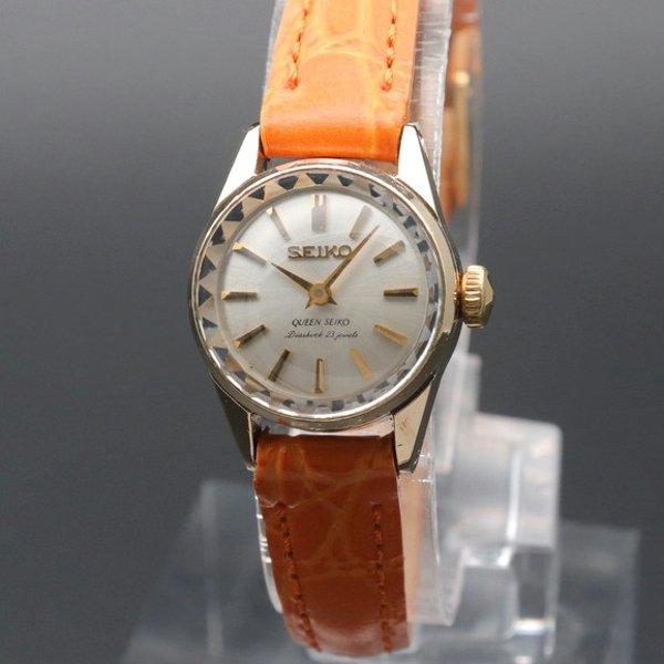 売り切れ 1964年 14KGF アンティーク 初期型 クィーン セイコー CAL1020 カクテル  手巻 王冠マーク 希少【OH済】
