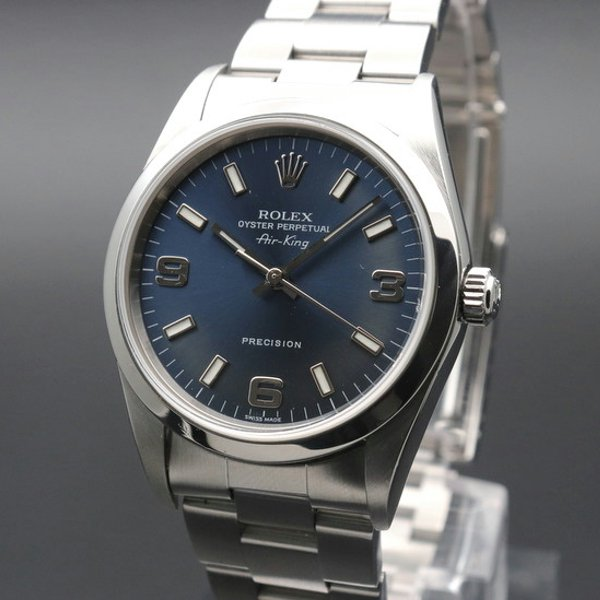価格別  2002年 ロレックス エアキング ブルー 3/6/9 Y番 14000M 生産中止モデル 美品中古【OH済】