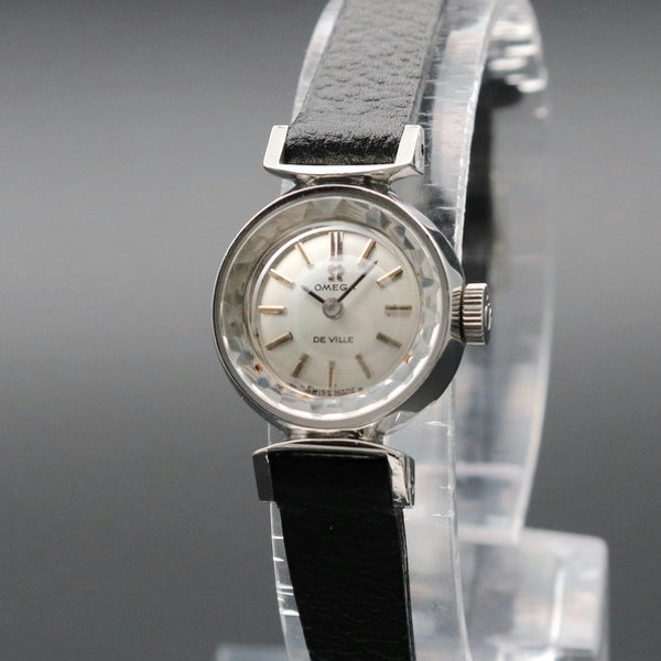 価格別  1970年 アンティーク オメガ   デビル cal485 カクテル カットガラス レディース 手巻 【OH済】