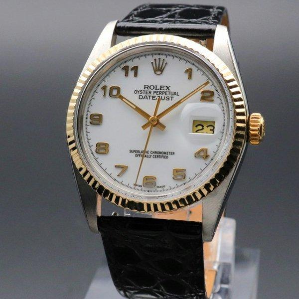 価格別  1985年製 USED ロレックス デイトジャスト 16013 YGベゼル アラビア CAL3035 ヴィンテージ 新品仕上【OH済】