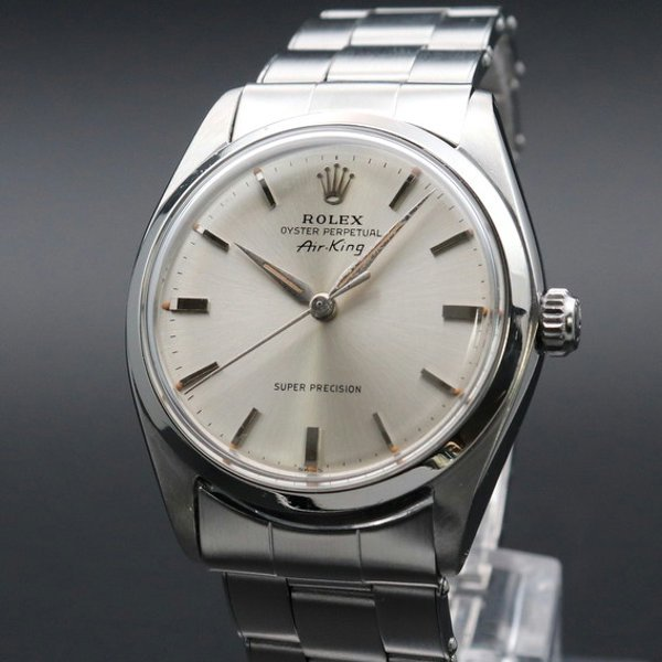 ロレックス - Antique Rolex -   完売 1962年 アンティーク ロレックス SS エアキング ref5500 自動巻 リーフ針 リベット 出べそ ヴィンテージ【OH済】