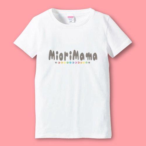 名前入り*プリントママTシャツ<br>(名前ローマ字1)