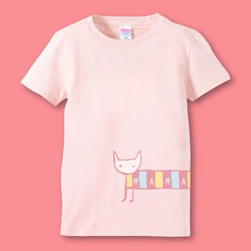 手描き*名前入りママTシャツ<br>(シマねこ)