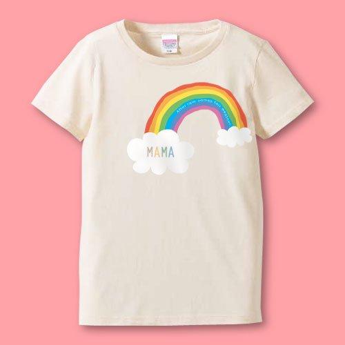 名前入り*プリントママTシャツ<br>(レインボー)