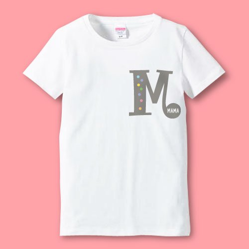 名前入り*プリントママTシャツ<br>(イニシャルR)