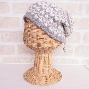 アルパカ 2wayネックウォーマー&帽子(リバーシブル) ノルディック柄 ライトグレイ