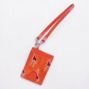 ヤギ革 パスケース(ストラップ付)キリン オレンジ