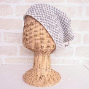 アルパカ 2wayネックウォーマー&帽子(リバーシブル) 格子 グレイ&白