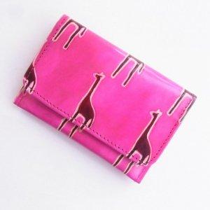 ヤギ革 カードケース キリン ピンク