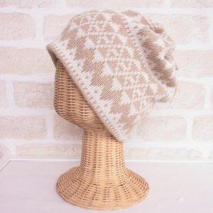アルパカ 2wayネックウォーマー&帽子(リバーシブル) 模様編み 白×ベージュ