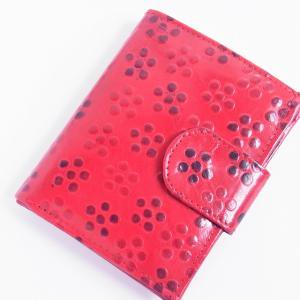 ヤギ革 二つ折り財布 つぶつぶ赤