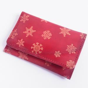 ヤギ革 カードケース スノー 赤