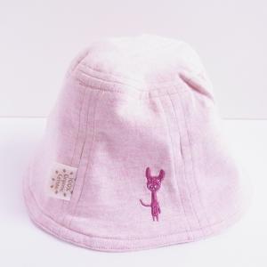 ベビー リバーシブル帽子 ピンク&生成り