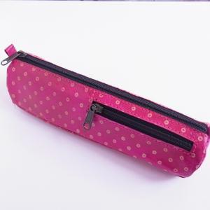 ヤギ革 ペンケース 水玉 ピンク
