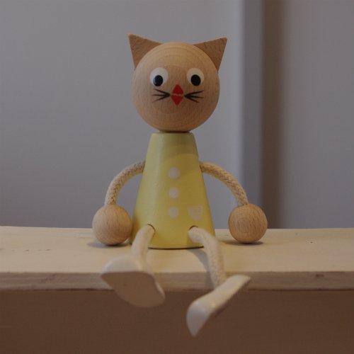 木のお人形 ネコ パステル