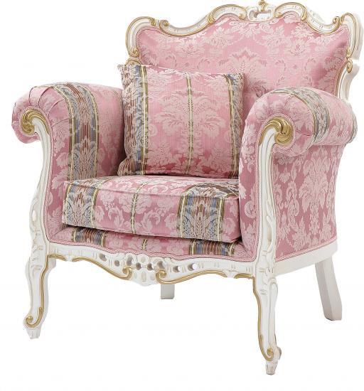 【送料無料】ロココ調輸入家具 1人掛けアームチェア ピンク【イタリア製】