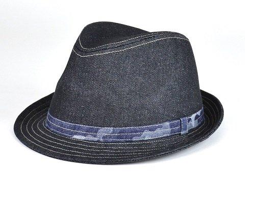 抗がん剤帽子【送料無料】【翌営業日迄に発送】デニム×CAMOハイバック中折帽子ブラック/医療帽子プレジ…