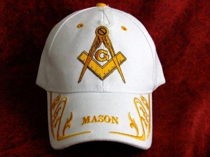 新品フリーメイソンキャップ帽子/WHITE白【M-805】