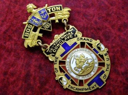 1895'sフリーメイソンテンプル騎士団アンティーク勲章バッジ 【M-943】