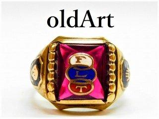 ビンテージ1940年代オッドフェローズFLTスカル10金無垢ルビーメンズリング指輪22.5号【M-022】