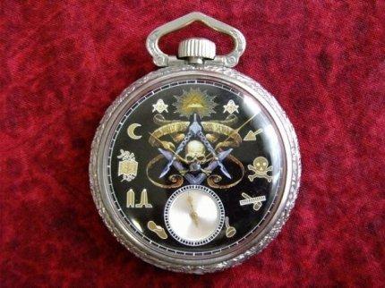 1914'sアンティークフリーメイソンスカル×Illinois イリノイ手巻き式懐中時計【M-3882】【中古】