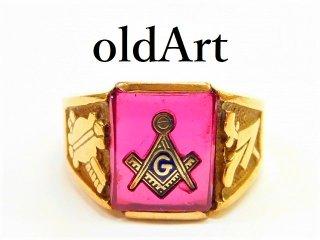 ビンテージ1960年代フリーメイソン10金無垢ルビーメンズリング指輪27号10Kゴールド【M-5633】