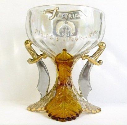 貴重1909'sアンティークフリーメイソン蹄シュライナー豪華ガラス製グラス訳有【M-7989】【送料無料】5