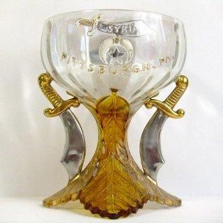 貴重1909'sアンティークフリーメイソン蹄シュライナー豪華ガラス製グラス【M-2785】【送料無料】3