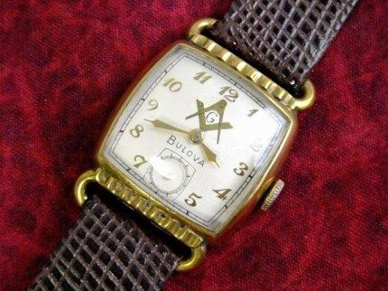 希少40'sヴィンテージフリーメイソンBULOVAブローバ手巻き式腕時計cal.10BC【M-3663】【送料無料】