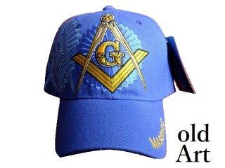新品未使用フリーメイソン刺繍エンブレムキャップ帽子ブルー/青色【M-812/5132】