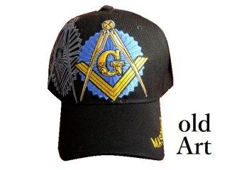 新品未使用フリーメイソン刺繍エンブレムキャップ帽子ブラック/黒色【M-10178】