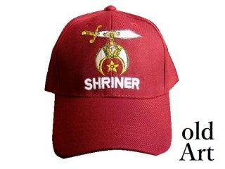 新品未使用フリーメイソンシュライナー刺繍エンブレムキャップ帽子バーガンディー色【M-810/3452】