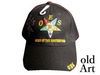 新品未使用フリーメイソン逆五芒星イースタンスター刺繍エンブレムキャップ帽子黒色/ブラック【M-807/9666】