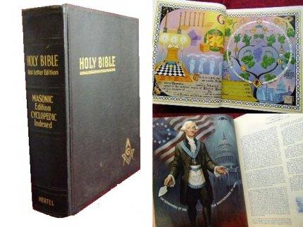 ビンテージ60'sフリーメイソン特大バイブルHOLY BIBLE古書【M-6412】【送料無料】