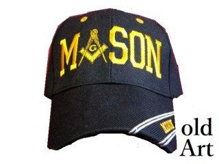 新品未使用フリーメイソン刺繍エンブレムキャップ帽子/ブラック黒色【M-10179】
