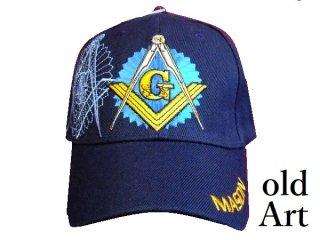 新品未使用フリーメイソン刺繍エンブレムキャップ帽子紺色ネイビー【M-10176】