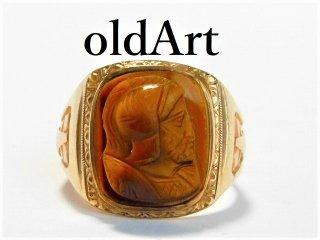 1930年代アンティークカメオ騎士タイガーアイ彫刻10金無垢ゴールドメンズリング指輪/19.5号【M-10128】【送料無料】