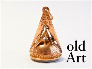 英国製1910年代アンティークフリーメイソン9金無垢9ctゴールド立体意匠フォブペンダント【M-11604】